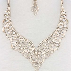 Rhinestone Necklace with Matching Earrings